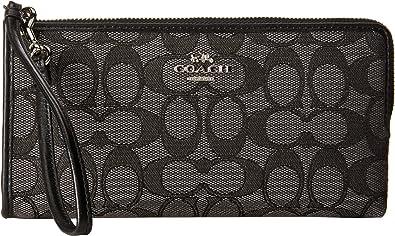 4c516996e1 Image Unavailable. Image not available for. Color  COACH Women s Signature  Zip Wallet SV Black Smoke Black Clutch