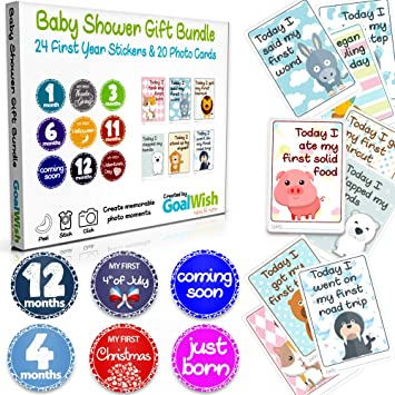 20 Milestone Cards Pack of 44 Items Baby Monthly Stickers 24 Baby Stickers