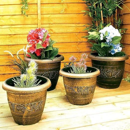 4 de maceta de jardín negro y dorado Bronce recipientes maceteros de flores de diseño cilíndrico: Amazon.es: Jardín