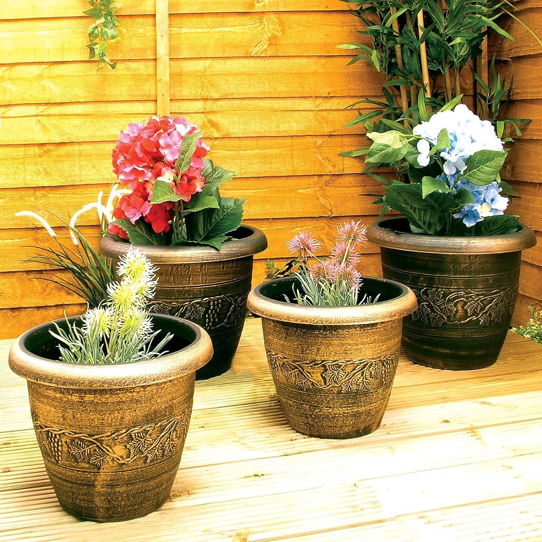 4 Garden Plant Pots Black Bronze Gold Round Containers Planters