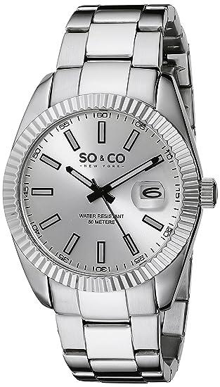SO & CO New York Reloj analógico para Hombre de Cuarzo con Correa en Acero Inoxidable