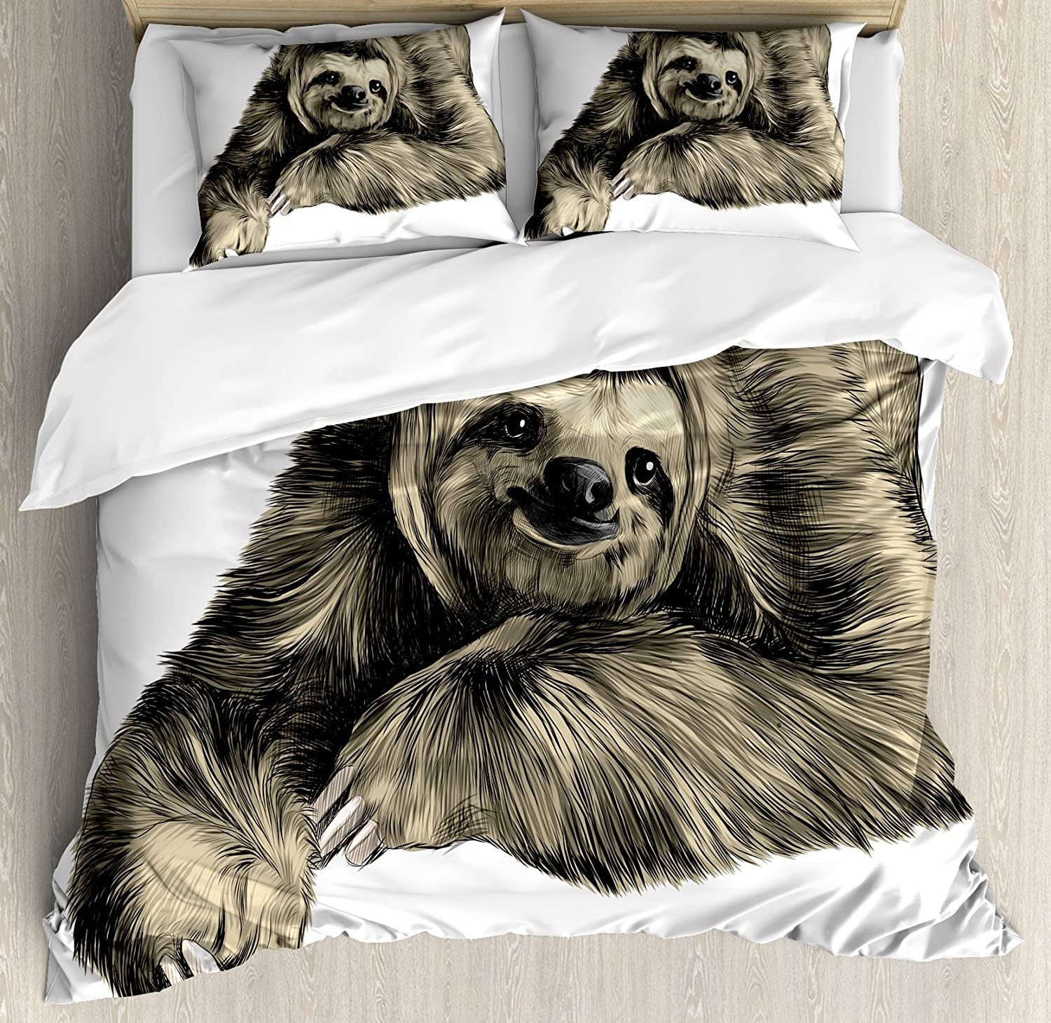 Ambesonne Sloth Duvet Cover Set, Sweetly Smiling Jungle Animals Lying Down with Crossed Legs Tropic Fauna Sketch, Decorative 3 Piece Bedding Set with 2 Pillow Shams, Queen Size, Black Ivory