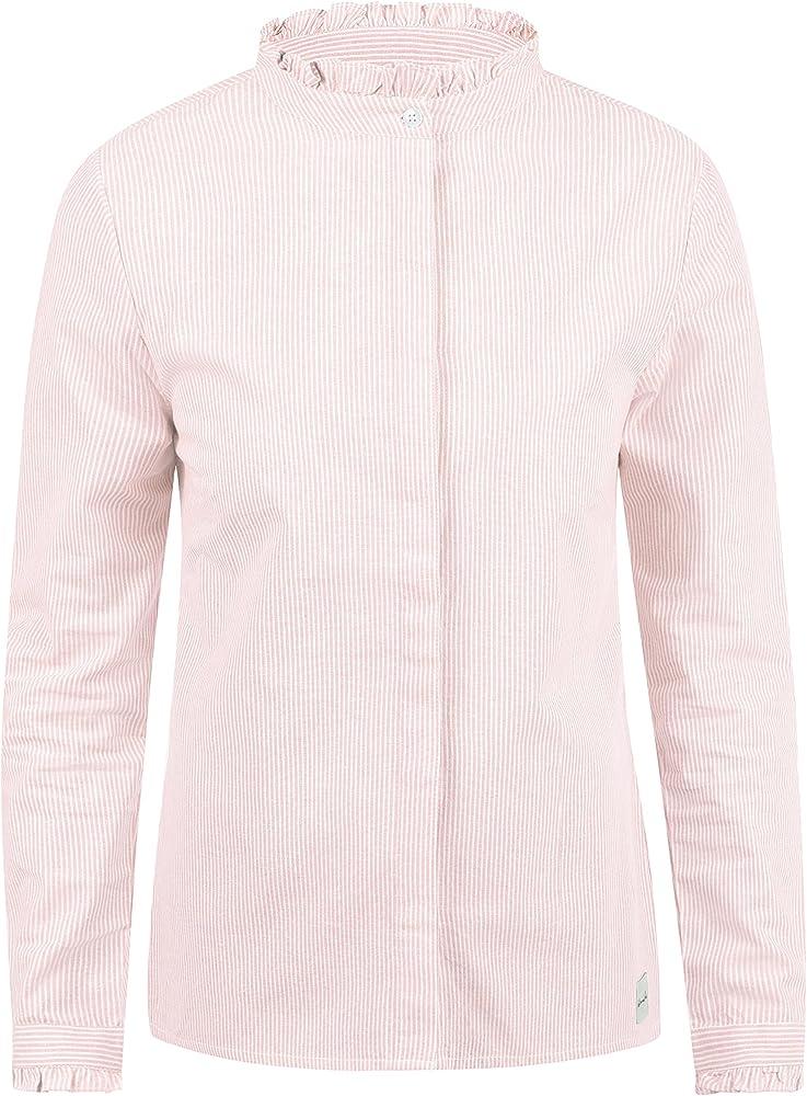 BlendShe Bluse Blusa Camisa Mangas Largas para Mujer con Cuello Alto con Estampado De 100% algodón, tamaño:XS, Color:Veleid Rose Stripe (20405): Amazon.es: Ropa y accesorios