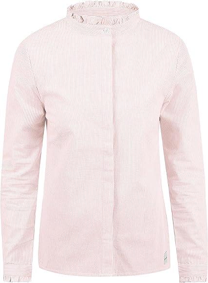 BlendShe Bluse Blusa Camisa Mangas Largas para Mujer con Cuello ...