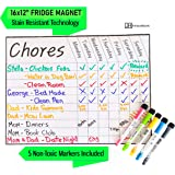 Magnetic Chore Chart for Kids   Dry Erase   40.5cm x 30.5cm for Fridge   Stain Resistant   Track Responsibilities   Reward Tasks   Improve Behavior   5 Markers with Erasers Included