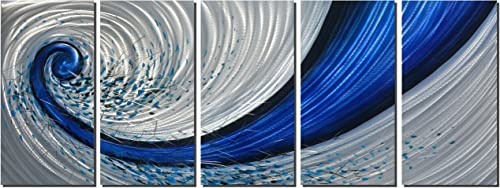 Metal Artwork with Blue Explosion Design, Abstract Metal Wall Art for Modern and Contemporary Hanging Decor, Metal Wall Sculpture, Great for Home or Office Decoration, 5-Panels Measure 64 x 24