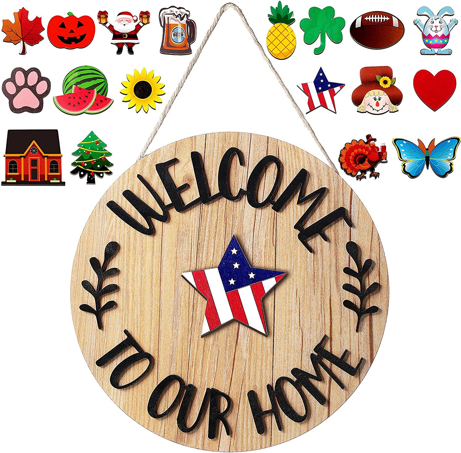 Jetec Interchangeable Seasonal Welcome Door Sign Rustic Welcome to Our Home Hanging Sign Round Wood Front Door Sign with 18 Seasonal Ornament for Easter Halloween Christmas Holiday Porch Decor