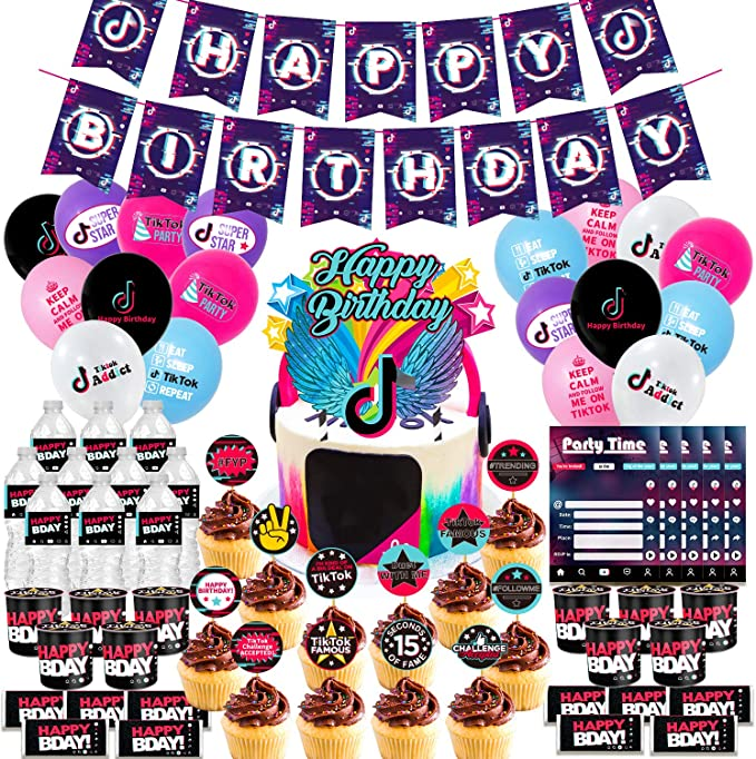 Amazon.com: Nelton Birthday Party Supplies For TikTok Includes Banner - Cake Topper - 24 Cupcake Toppers - 18 Balloons - 10 Invitations - 10 Candy Wrappers - 10 Bottle Labels - 10 Chip Can Labels: Toys & Games