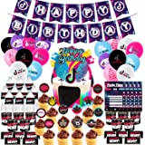 Nelton Birthday Party Supplies For TikTok Includes Banner - Cake Topper - 24 Cupcake Toppers - 18 Balloons - 10 Invitations -