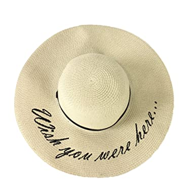 b867ed89 Image Unavailable. Image not available for. Color: Fashion Culture Women's 'Wish  You were Here' Floppy Sun Hat, Natural