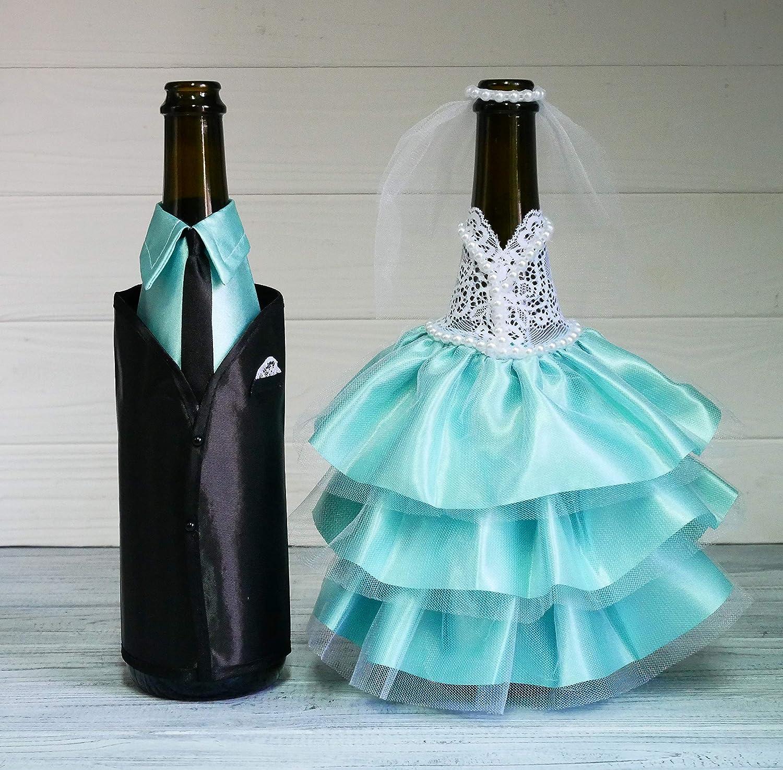 Amazon.com | Bride and Groom Wine Bottle Covers - Wine bottle ...