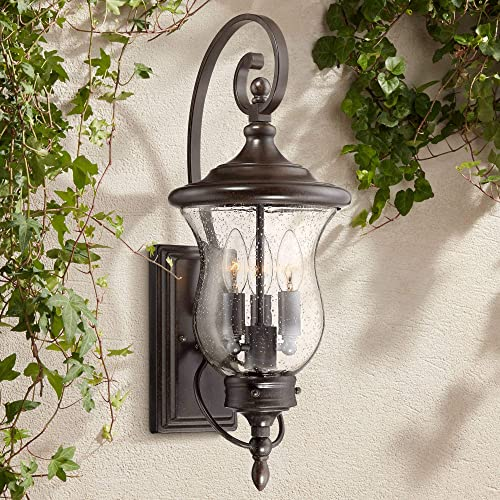 Carriage Traditional Outdoor Wall Light Fixture LED Bronze 22″ Clear Seedy Gla