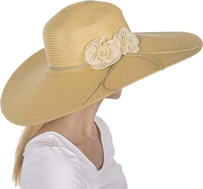 Cottagecore Clothing, Soft Aesthetic Wide Brim Floppy Hat Sakkas Bella UPF 50+ 100% Paper Straw Flower Accent Wide Brim Floppy Hat  AT vintagedancer.com