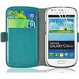 Housse Galaxy S3 Mini, Coque Galaxy S3 Mini | JAMMYLIZARD | Housse portefeuille Deluxe aspect cuir range cartes fermeture magnétique, Turquoise