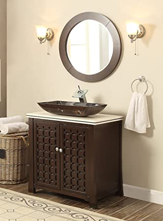 30u0026quot; Giovanni Vessel Sink Vanity Cabinet Model HF339A With Matching  Mirror