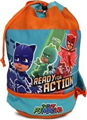 PJ Masks Boys Beach Drawstring Cinch Backpack Tote Bag (Blue/Orange)