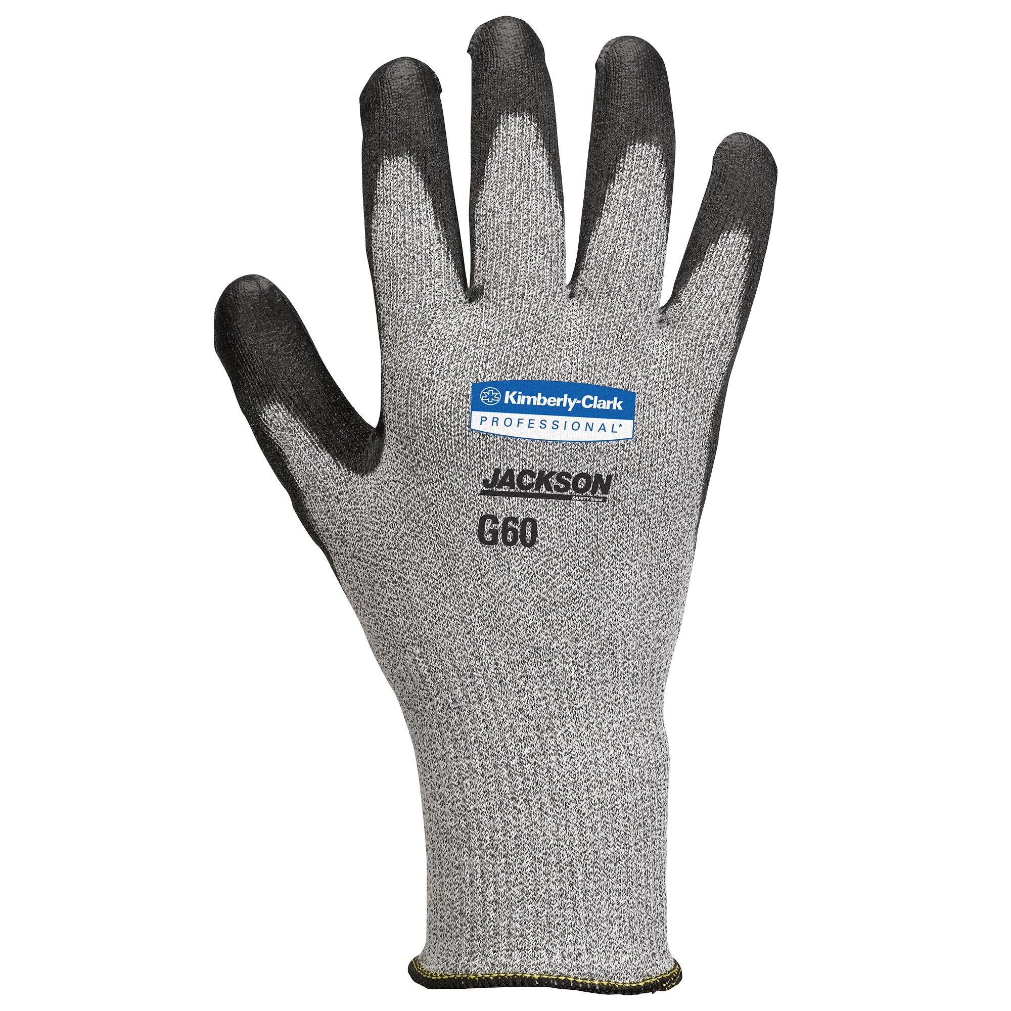 Jackson Safety G60 EN Level 5 Polyurethane Coated Cut Resistant Gloves (98237), Black, Large, 12 Pairs / Bag, 1 Bag