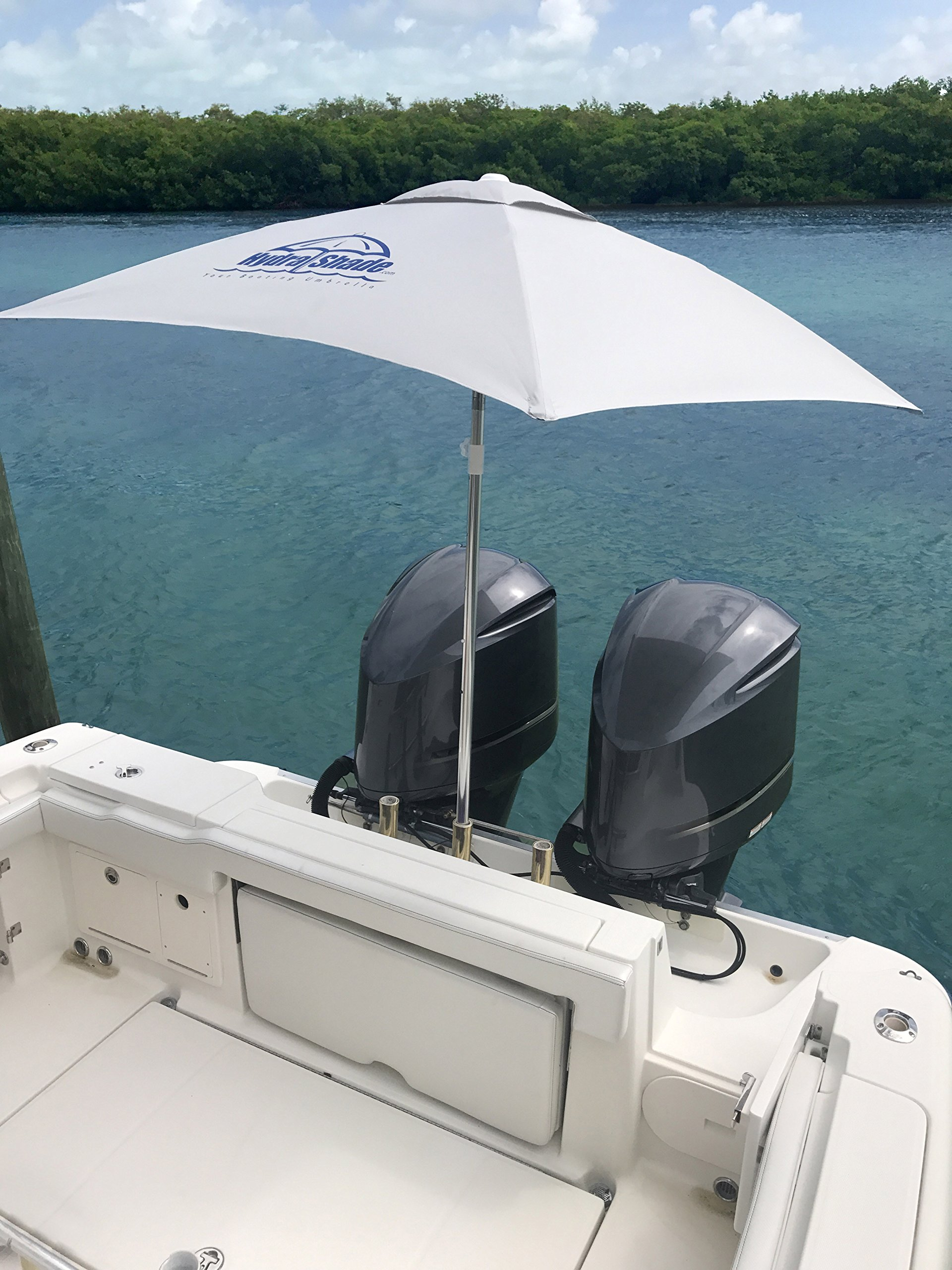 Hospitality Rattan XL-150 Hydra Shade 8' Square Boating & Beach Umbrella Kit, White by Hospitality Rattan (Image #4)