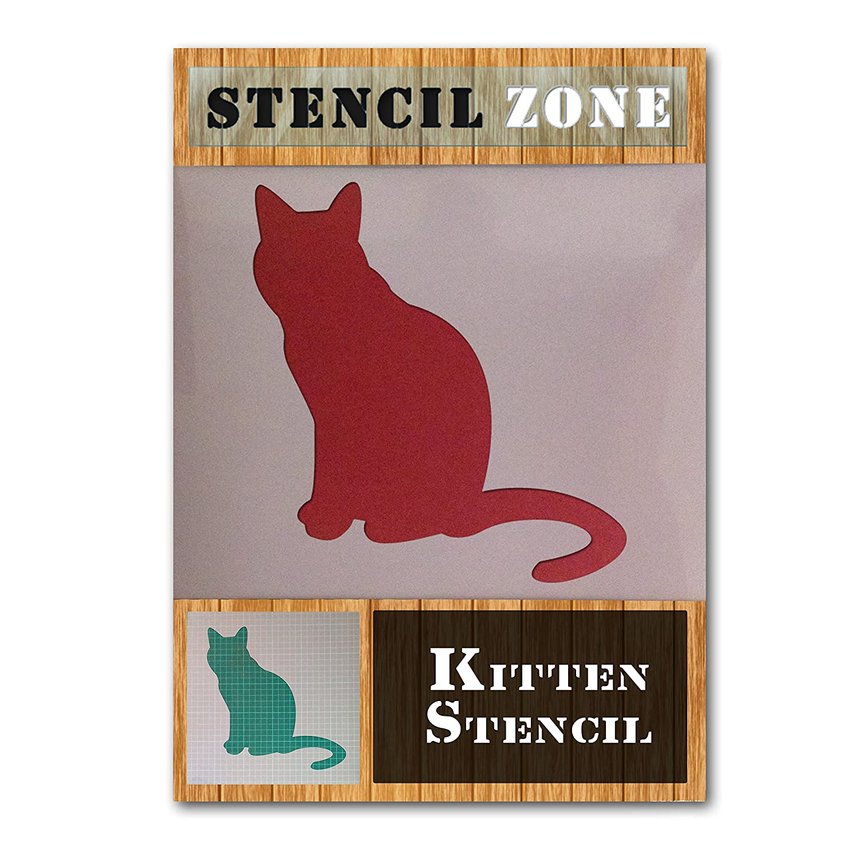 Cats Sat Looking animal pet mylar air brush painting kids wall art stencil (A1 Size Stencil - Xlarge) STENCIL ZONE