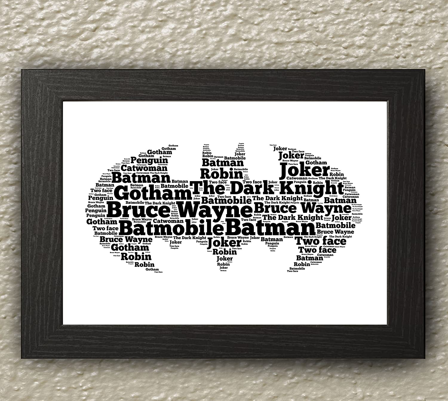 PERSONALISED WORD ART PRINT BATMAN A4 WITH FRAME BIRTHDAY GIFT ...