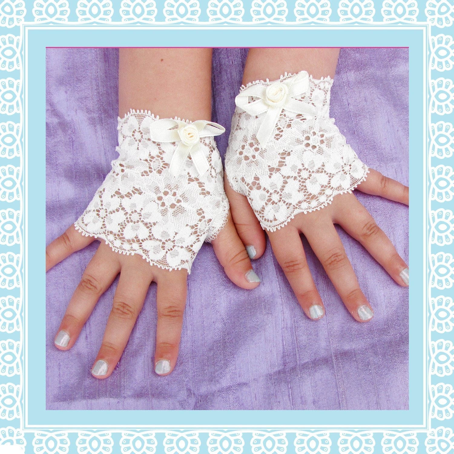 Toddler Girl Ivory Lace Fingerless Gloves Steampunk Wedding Easter