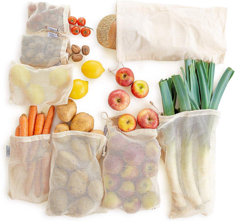 Bolsas Reutilizables Compra, Bolsas Reutilizables Fruta, Ecológicas Bolsas de Algodon Reutilizables Fruta Almacenamiento,Verduras,Juguetes 3 Tamaños (10pcs): Amazon.es: Hogar