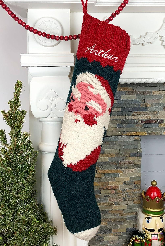 Christmas Stocking Personalized Hand Knit Vintage Santa Stocking