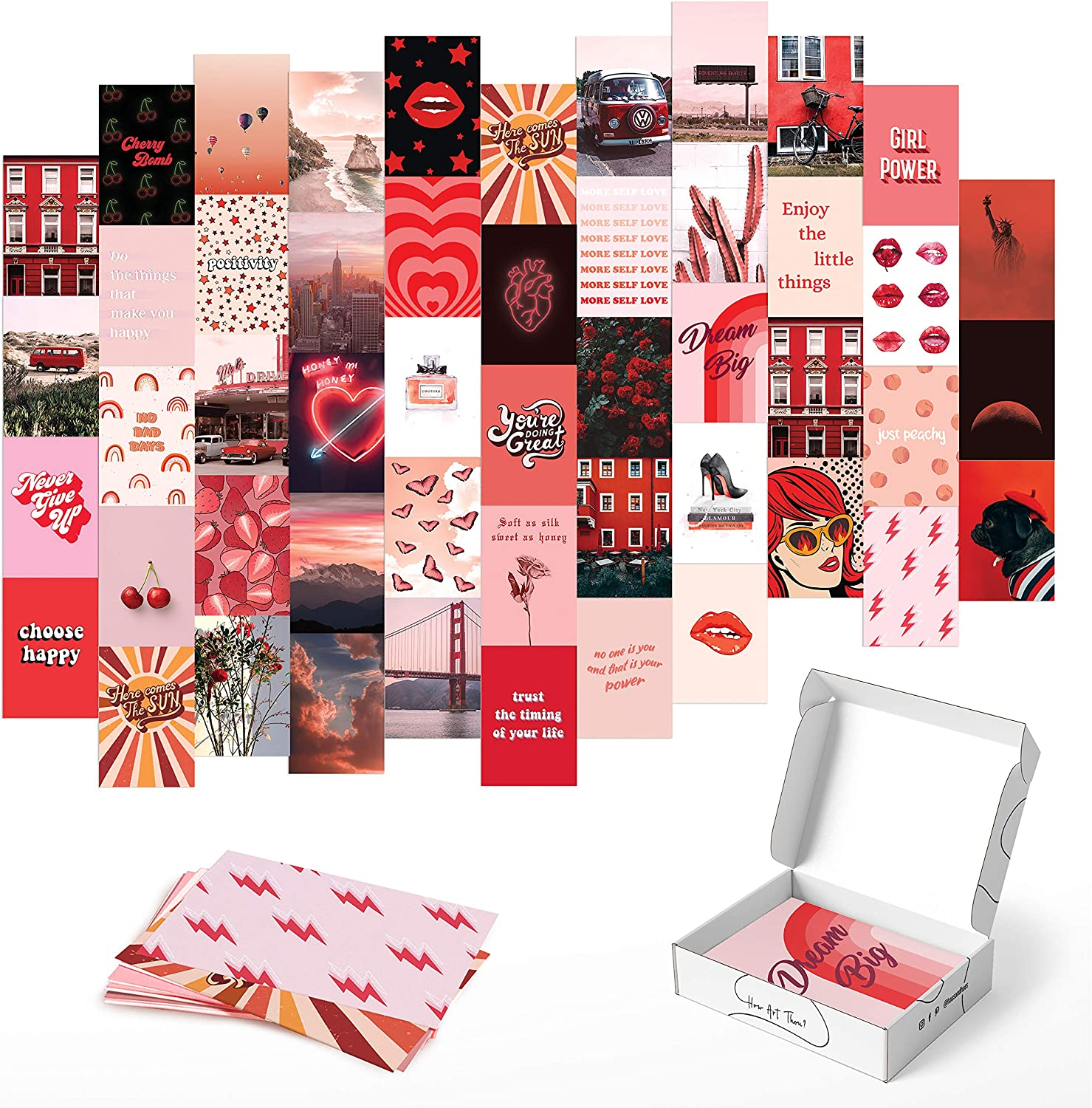 HAUS AND HUES Photo Collage Kit for Wall Aesthetic Decor Red Aesthetic Posters and Aesthetic Pictures for Wall Collage | Aesthetic Wall Collage Kit Prints | VCSO Room Decor