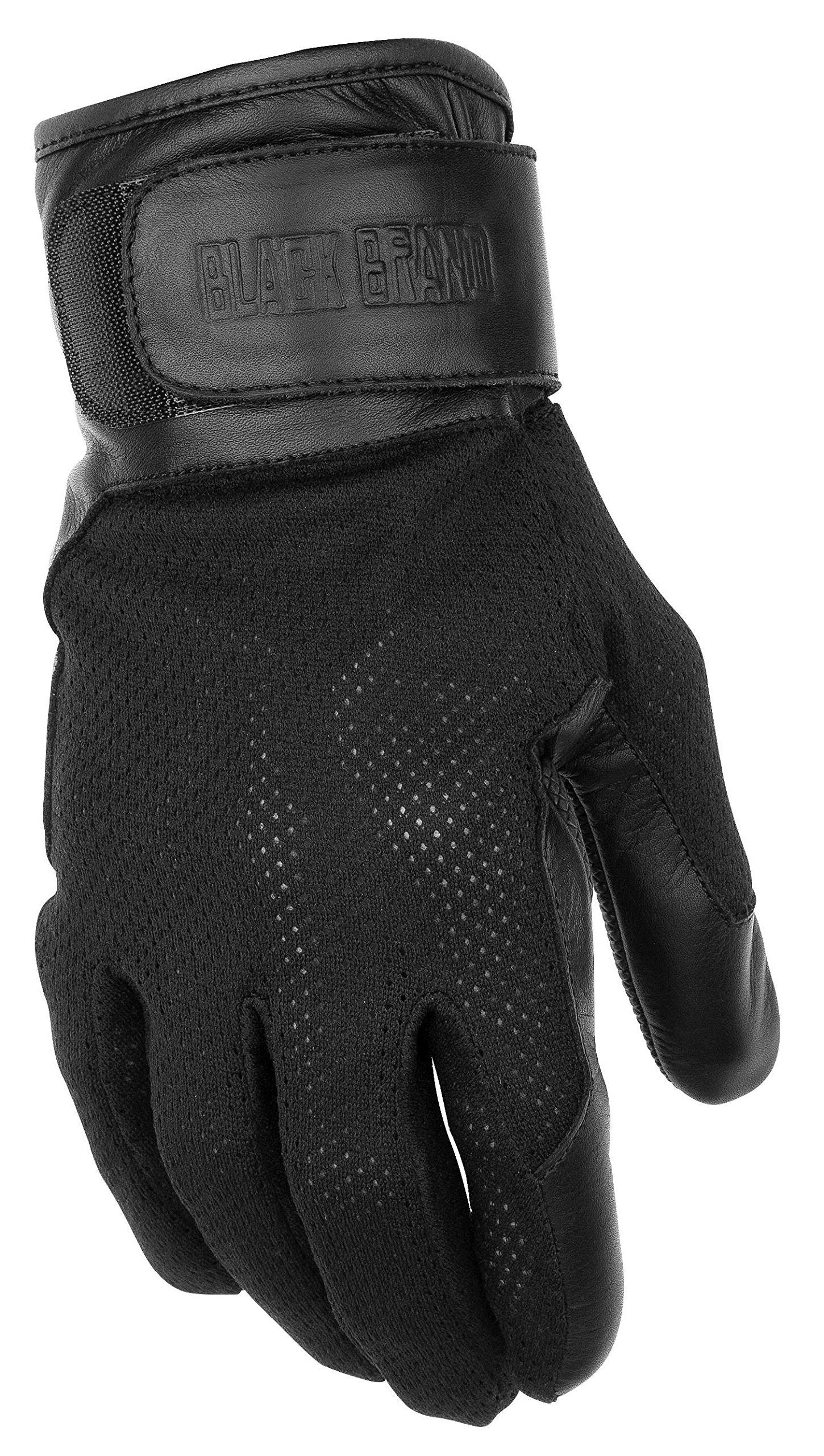 Black Brand Men's Leather/Mesh High Flow Motorcycle Gloves (Black, X-Large)