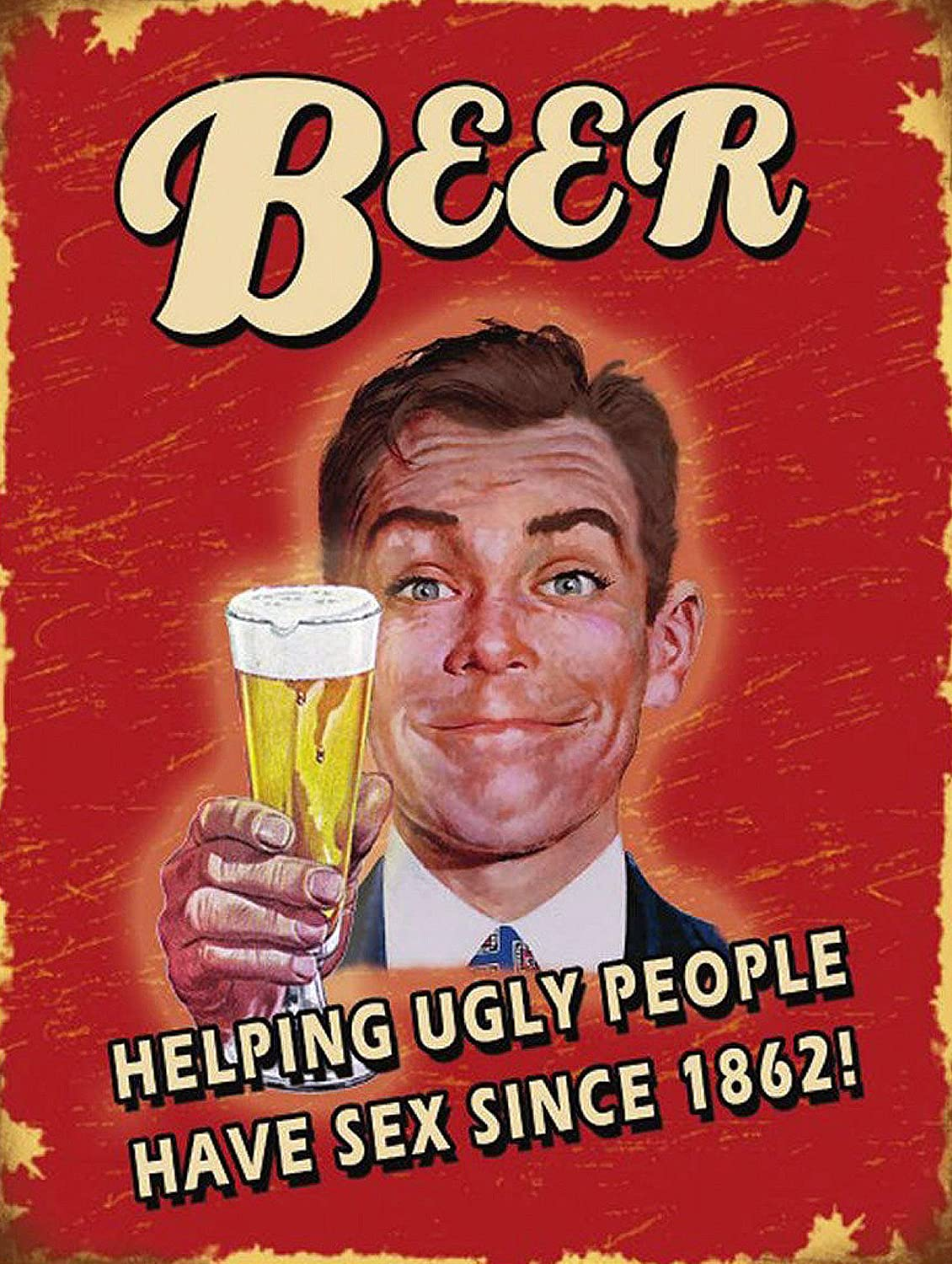 BEER HELPING UGLY PEOPLE SIGN PUB BAR MAN CAVE RETRO VINTAGE STYLE METAL TIN WALL PLAQUE SIGN NOVELTY GIFT ALUMINIUM SIGN