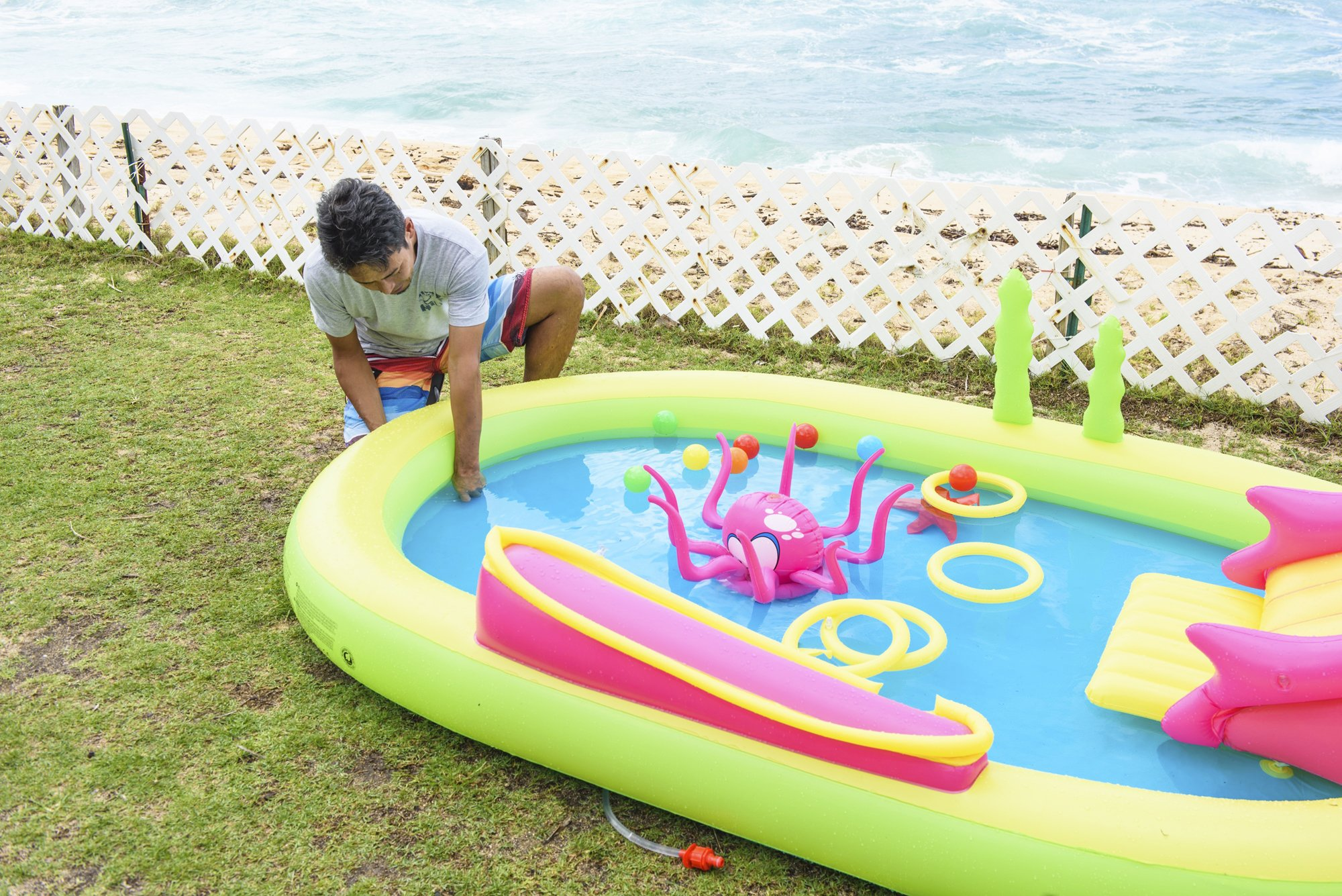 Jilong Giant Inflatable Sea Animal Kiddie Play Pool - Inflatable Pool for Kids - Complete with Pool Accessories and Water Activities - 117'' X 65'' X 22''