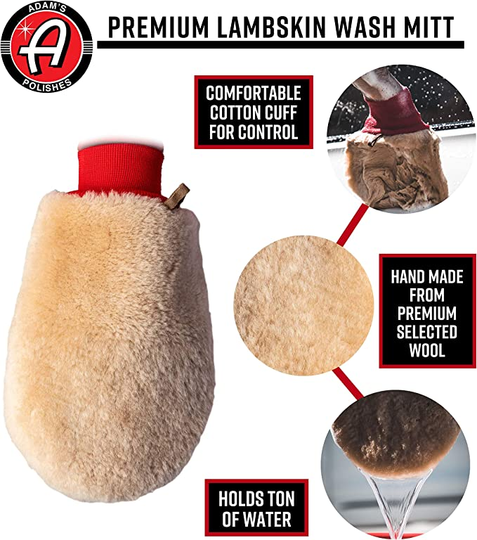 Adams Lambskin Wool Car Wash Mitt Double Sided Cotton Cuff Detailing Tool for Your Car Premium 2 Pack Ultra Soft Wash Pad Gently Scrubs Your Vehicle Without Worry of Scratches or Swirls