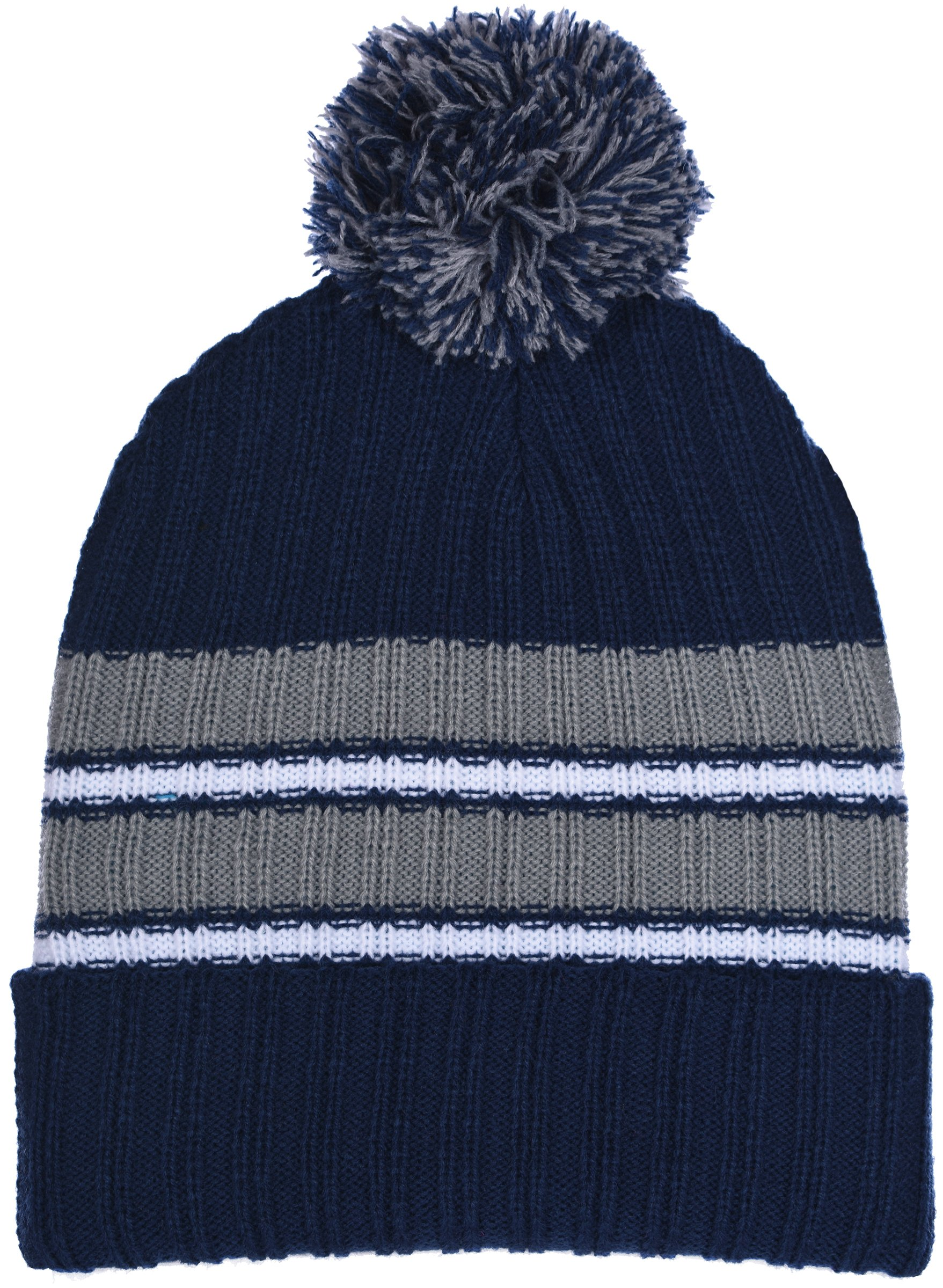 Polar Wear Boy's Cuffed Knit Hat with Pom and Stripes in 6 Color Combinations (Navy Blue - Gray)