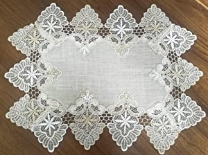 """GRANDDECO Lace Table Placemat, for Home Kitchen Dining Room Coffee Wedding Dresser Scarf Tabletop Decoration,Placemat 12""""×18"""" Set of 4, Beige"""