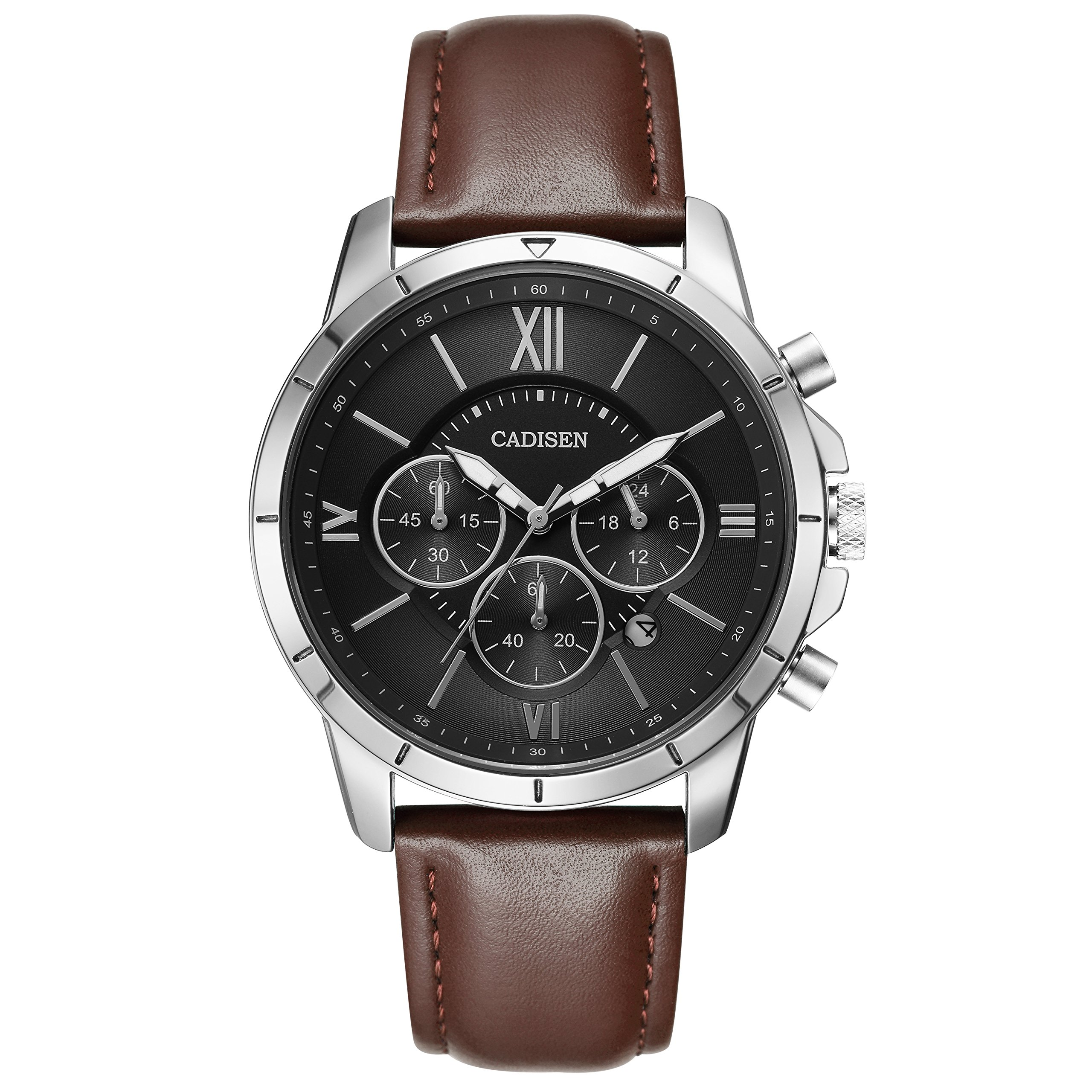 CADISEN Watch for Men Chronograph Calendar Waterproof Casual Business Brown Leather Watch by CADISEN