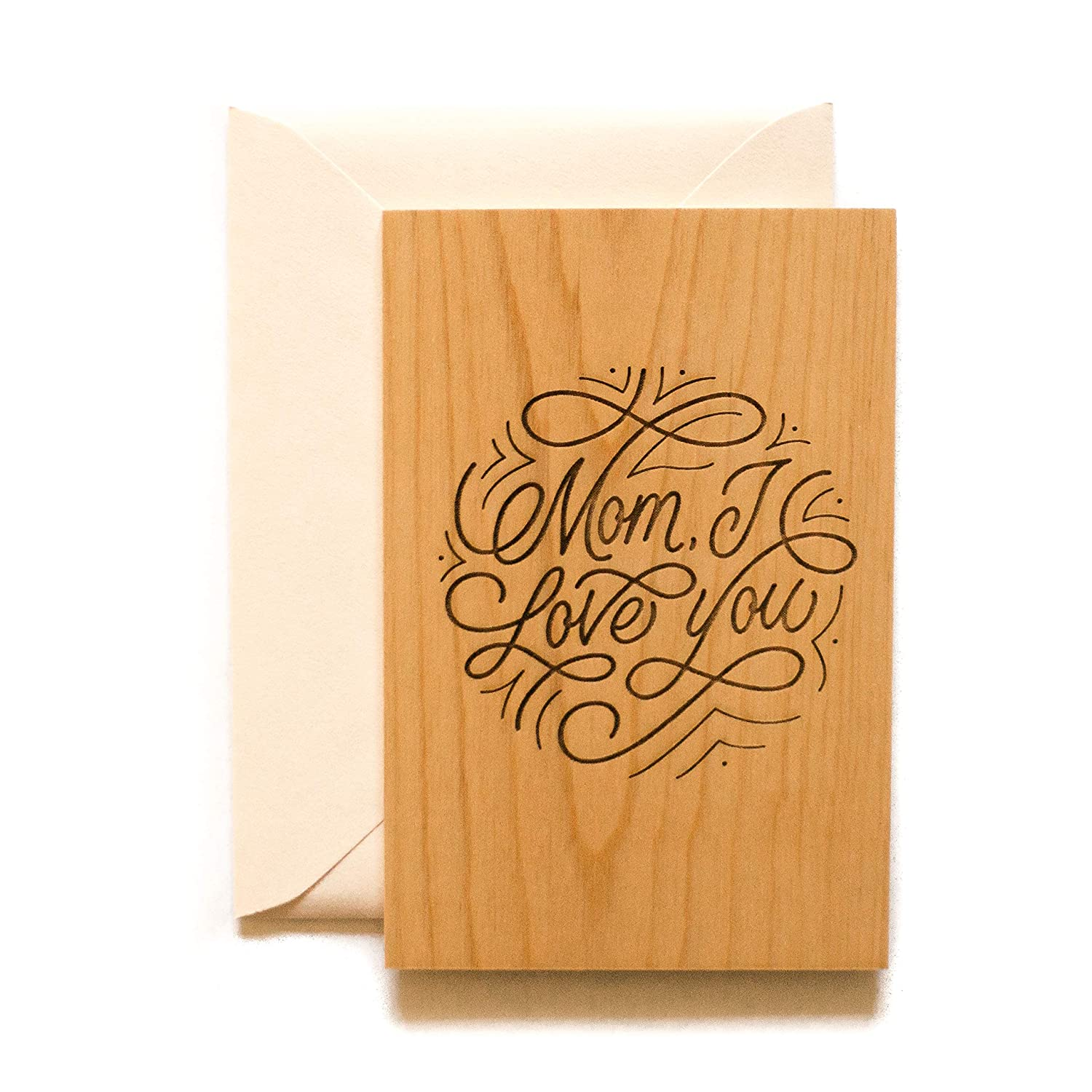 Very Best Mom Laser Cut Wood Mothers Day Card Handlettered//Greeting Card