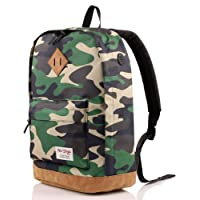 936Plus Vintage School Bag College Backpack | Fits 15.6-inch Laptop | 45x32x16cm | Camo Green