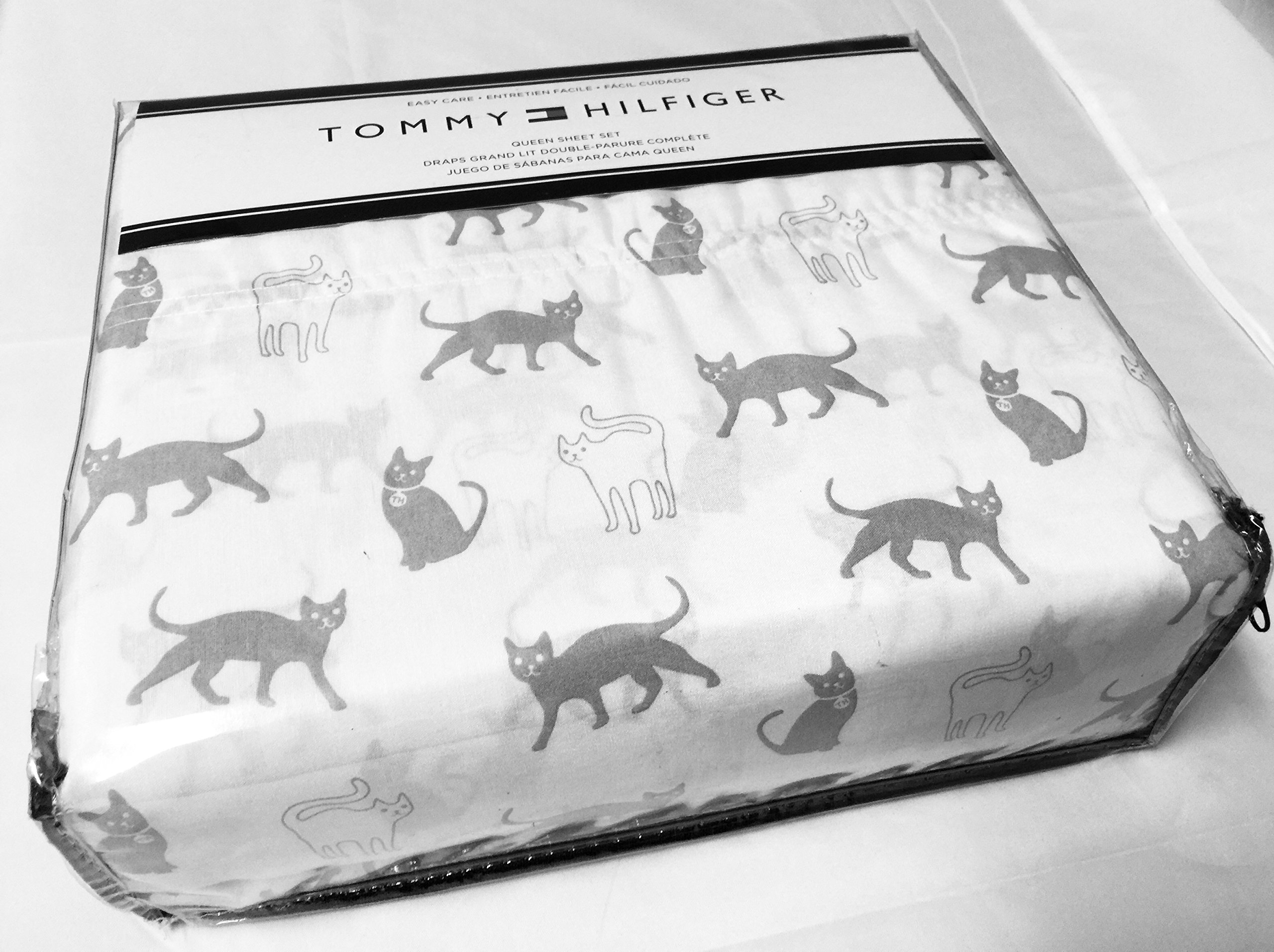 Tommy Hilfiger Queen Sheet Set Cats Cotton Flannel 4 Pc Gray ~ White Bedding Animal Print