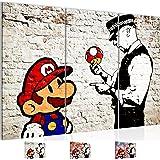 Bilder 120 x 80 cm - Banksy Mario Street Art Bild - Vlies Leinwand - Kunstdrucke -Wandbild - XXL Format - mehrere Farben und Größen im Shop - Fertig zum Aufhängen - !!! 100% MADE IN GERMANY !!! - 303031a