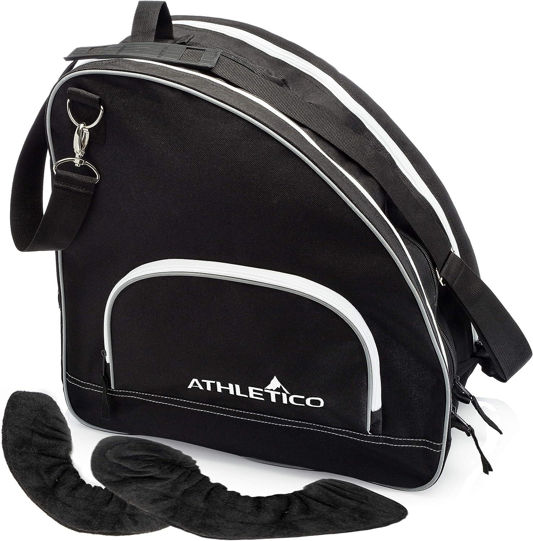 Athletico Ice Skate Bag + Large Skate Blade Cover - Bundle Includes Skate Bag for Ice Skates, Figure Skates, or Hockey Skates and Blade Cover to Protect Blades (Black) (Black, Large) : Sports & Outdoors