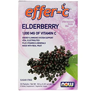 NOW Foods - Effer-C 1000 mg Vitamin C, Edelberry 30 packets (Pack of 2)