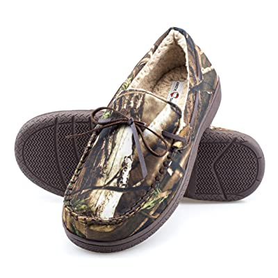 ArcticShield Mens Memory Foam Indoor/Outdoor Durable Comfortable Slip On Moccasin Slippers   Slippers