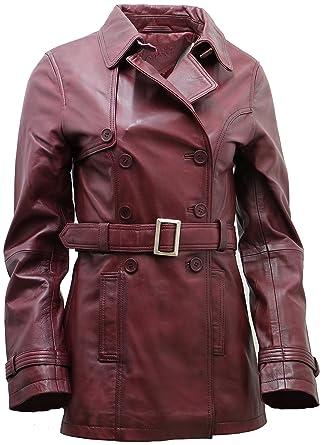 5c74d2ca3bc Women's 3/4 Burgundy Ladies Lamb Leather Nappa Trench Coat t at ...