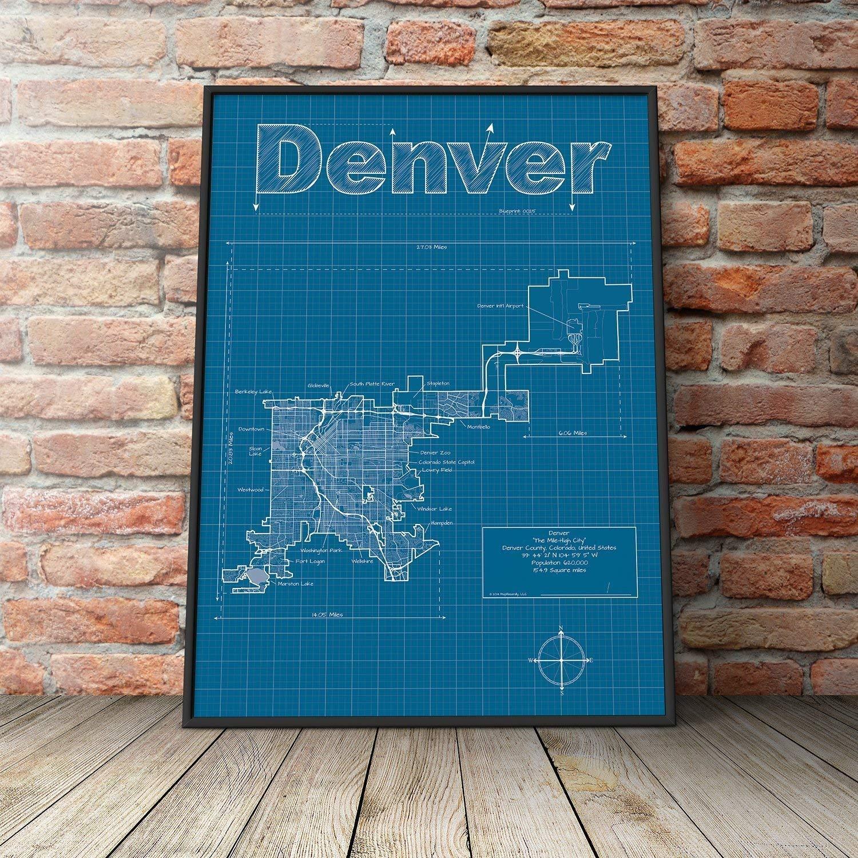 Amazon.com: Denver, Colorado Map - Blueprint Style: Handmade