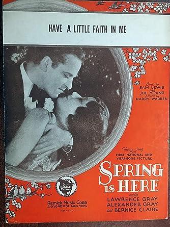 Have A Little Faith In Me Harry Warren Sheet Music 1930