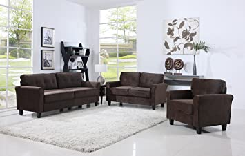 Classic Living Room Furniture Set   Sofa, Love Seat, Accent Chair (Brown)