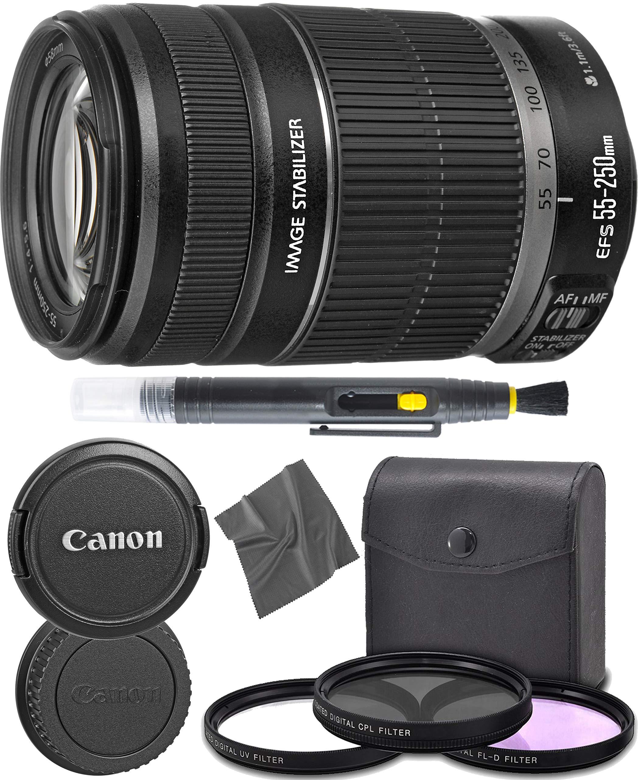 Canon EF-S 55-250mm f/4-5.6 is II Lens (5123B006) + AOM Pro Starter Bundle Kit - International Version (1 Year AOM Warranty) by AOM