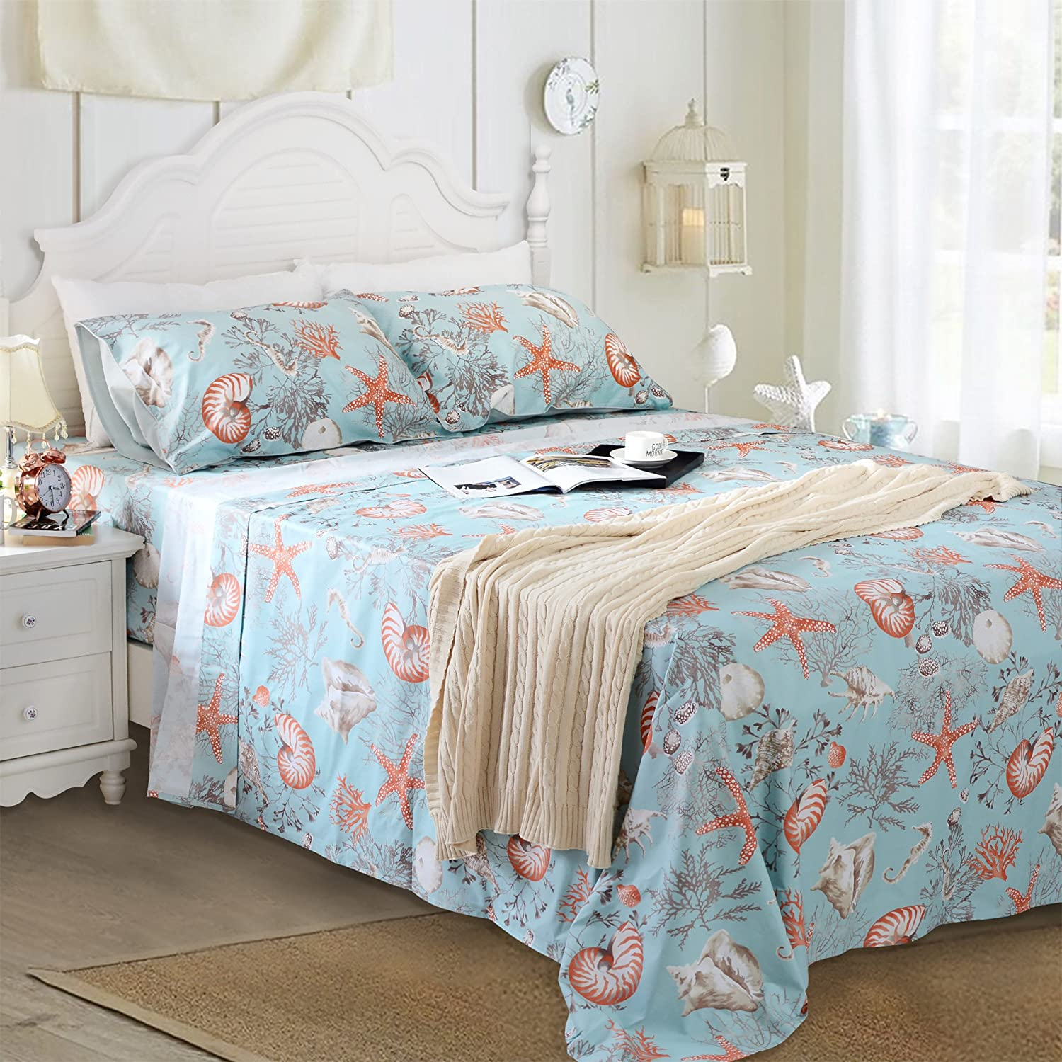 Brandream Queen Size Sheets Set Deep Pockets 18 Inch Designer Beach Themed Bedding Sets Seashells Coral Printed Sheets 100% Egyptian Cotton