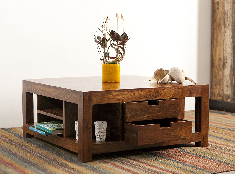 KARAKTER-MÖBEL Couchtisch Wohnzimmertisch Tisch Akazie Massiv Holz 80x80cm 4 Schubladen Modern