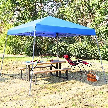 half off bbff2 1b14b PHI VILLA 12' x 12' Slant Leg Pop-up Canopy, 81 Sq. Ft of Shade, Instant  Folding Canopy, Blue
